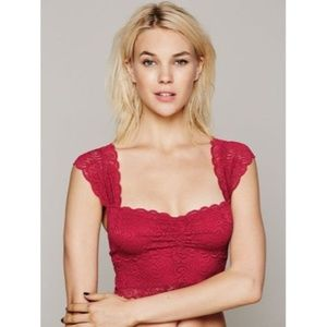 New Free People Intimately Scalloped Lace Crop Top